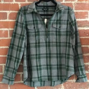 Madewell Zip Up Pullover Flannel Shirt